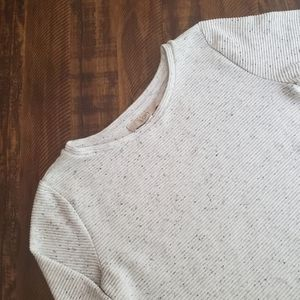 Loft Gray Sweater Top with White Ruffles | S